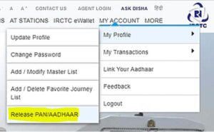 Release PAN card from irctc personal id